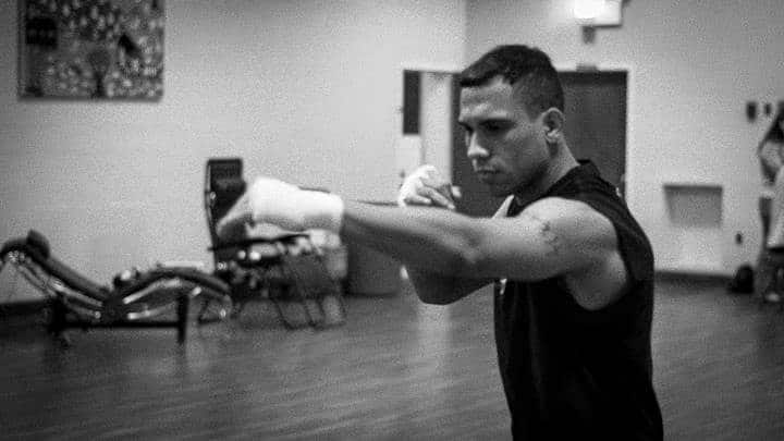 Black and white photo of a kickboxer at Lifestyle MMA
